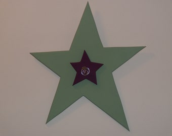 SALE: Large sage green star with small plum star, featuring a silver wire and clear glass bead accent