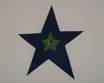SALE: Large navy blue star with small shamrock green star, featuring a silver wire and blue glass bead accent