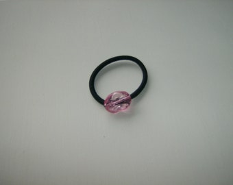 Pink wavy acrylic oval bead, ponytail holder