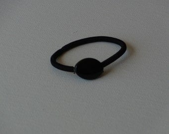 Black acrylic oval bead, ponytail holder