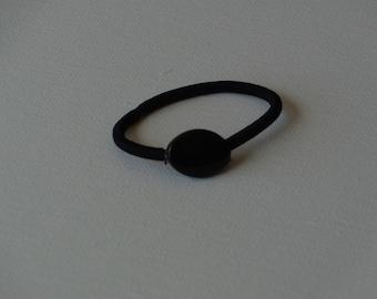 Black acrylic oval bead, ponytail holder