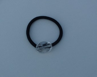 Clear wavy acrylic oval bead, ponytail holder