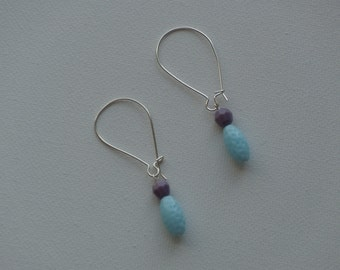 Sterling silver hook earwire dangle earrings with purple & light blue dimpled vintage beads