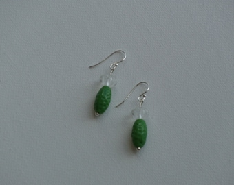 Sterling silver dangle earrings with green textured & clear flower glass vintage beads