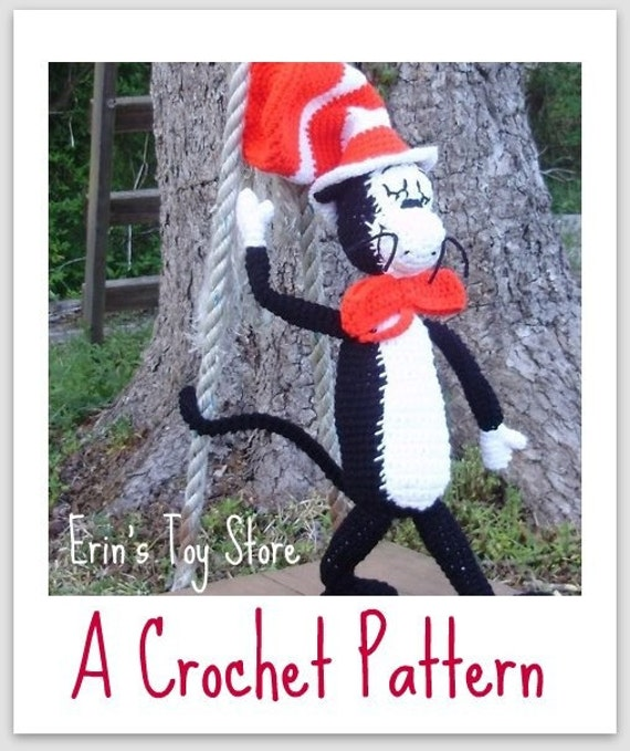 Cat in the Hat A Crochet Pattern by Erin by ErinScullsToyStore