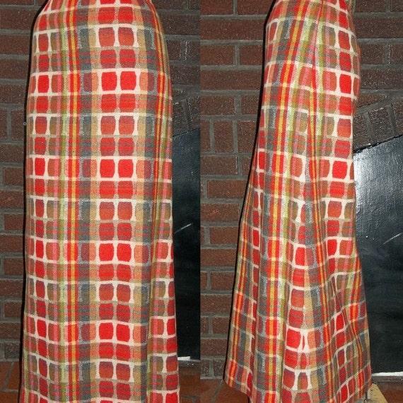 Vintage 60s Maxi Skirt Designer Cordon Wool Geometric Squares M