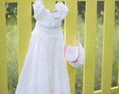 Hand Smocked Christening Gown w/ bonnet