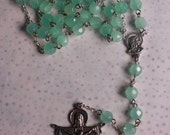 """Rosary  - 8mm Mint Green Glass Faceted Beads, 23"""" long"""