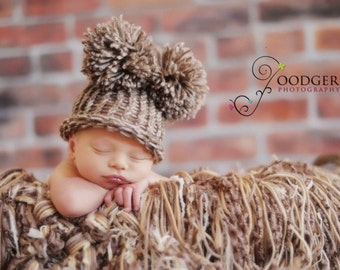 Wood Smoke EAR HAT Newborn Baby Flat Top Hat Brown White with Pom Poms - Photography Prop