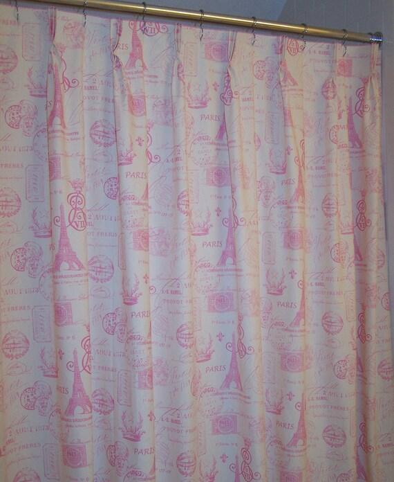 Pink French Postale Eiffle Tower Script Shower Curtain SO FEMININE