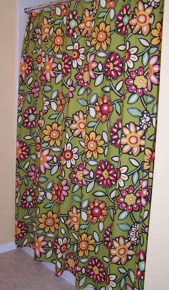 Green Pink Yellow Orange Flowered Shower Curtain Extra Long ABSOLUTELY GROOVEY