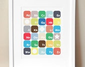 8x10 - 2 Color Schemes - Alphabet Nursery Art - 'Now I Know My ABC's' Alphabet Print