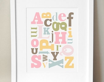 8x10 - 3 Color Schemes - 'Alphabet Soup' Print - Girl Alphabet Nursery Art