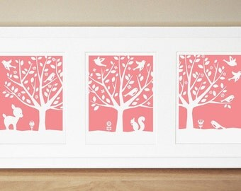 Nursery Art Prints - CUSTOM COLOR - Peaceful Tree Series (3) 8x10s