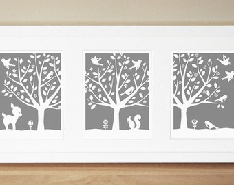 Nursery Art Prints - CUSTOM COLOR - Peaceful Tree Series (3) 11x14's