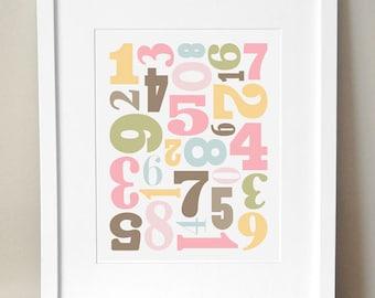 CUSTOM COLORS - 'Number Jumble' Numbers Nursery Art - 8x10