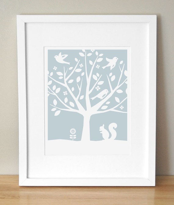 Nursery Art Print - CUSTOM COLOR - Peaceful Tree, Squirrel 11x14