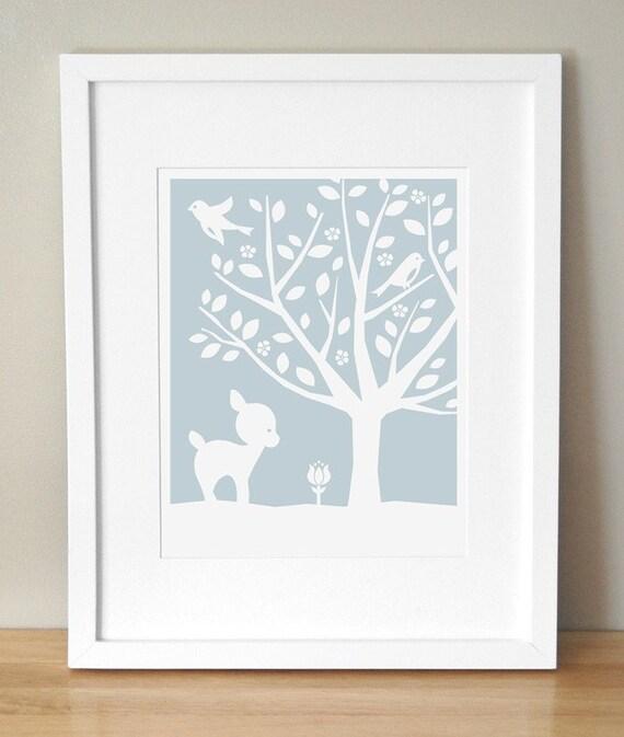 Nursery Art Print - CUSTOM COLOR - Peaceful Tree, Deer 11x14