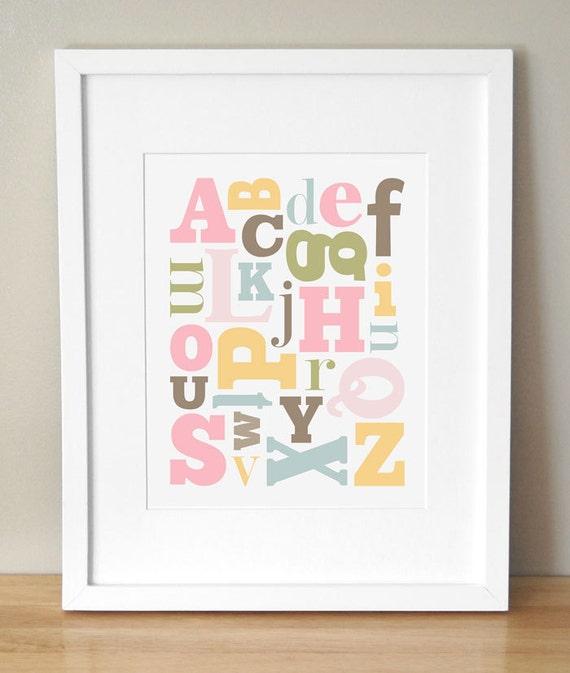 8x10 - CUSTOM COLORS -  Alphabet Nursery Art Print - 'Alphabet Soup'