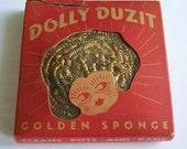 Vintage 40's Dolly Duzit  Golden Sponge Metal Dish Cloth in Box