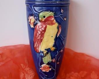 Vintage 40s Bird Wall Pocket Cobalt Blue Vase w Colorful Bird Flowers