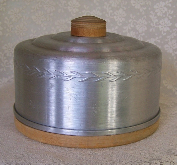 Vintage 40s Cheese Keeper Aluminum Butter  Cheese Keeper w Wooden Tray Base