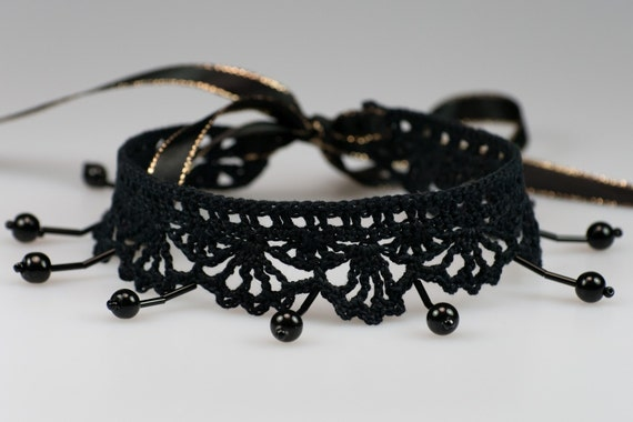 Black Evening Choker with Black Beads