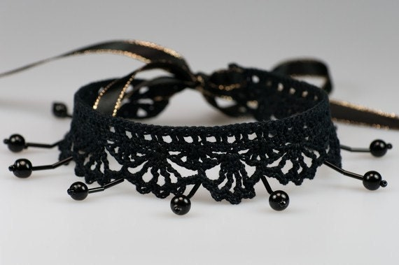 Elegance Choker - Black Lace Crochet Necklace with Black Beads, Sexy