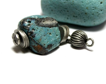 Polished Blue Slag Glass Jewelry- Authentic Bluestone Turquoise Necklace Industrial Pendant- Handmade by Allybeans