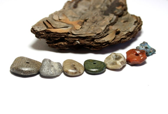 "Beach Stones Jewelry- Red Jasper, Slag Glass, Petoskey's, Fossil Spacer Supplies- ""Planets"" by Allybeans"