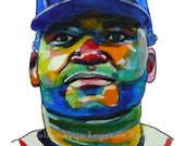 Boston Red Sox David Ortiz Painting Reproduction Print 11 x 8.5