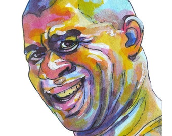 L.A Lakers Magic Johnson Painting Reproduction Print 11 x 8.5