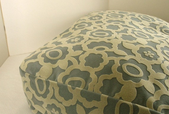 Dog Bed Cover   Soft Blue/Pale Yellow Flocked Upholstery 25x30
