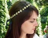 Rhinestone Beaded Headband for Women and Teens Belt Black and Sparkly Silver Studs by Jill's Boutique