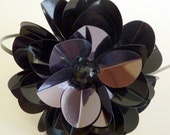 Sparkly Black Sequin Paillette Rose Headband for Women and teens handmade by Jill