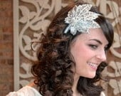 SALE-Silver Ice Crystal Leaf Sequin Beaded Headband Handmade for Women and Teens by Jill's Boutique