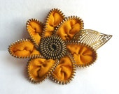 Zipper Rose Pin Deep Tangerine Orange and Forest Green Brooch Hairclip Handmade for Women by Jill's Boutique