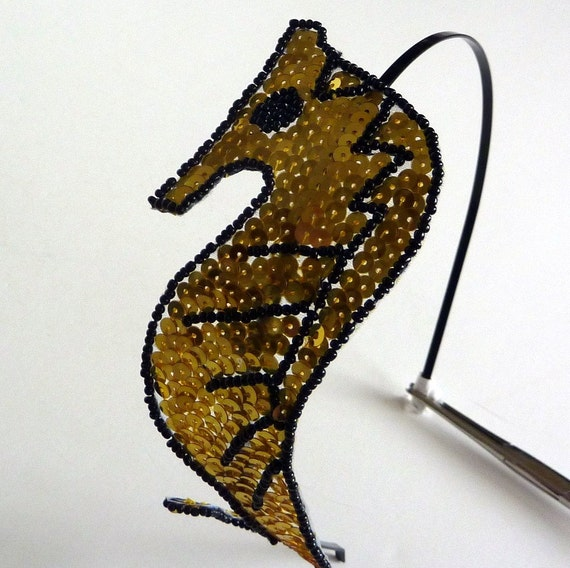 the sea golden beaded seahorse by s by