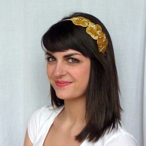Gold Beaded Flower Headband for Women and Teens -also available in Black or Silver by Jill's Boutique