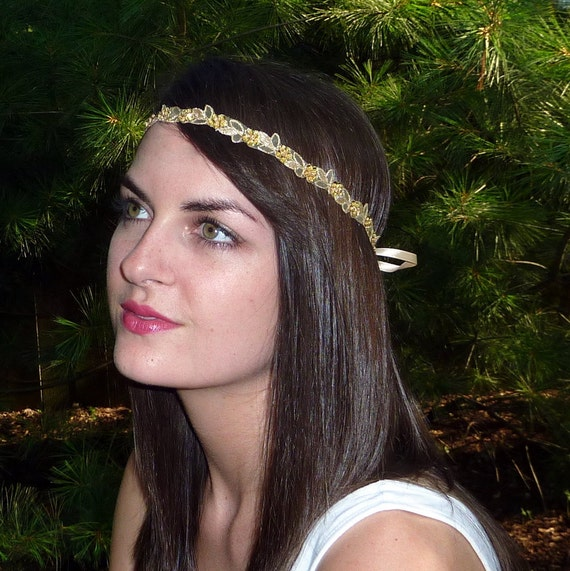 Reserved for Anna-Beaded Headband, Gold Metallic Embroidered and Beaded Leaves and Sequin Flowers Headband Sash by Jill's Boutique
