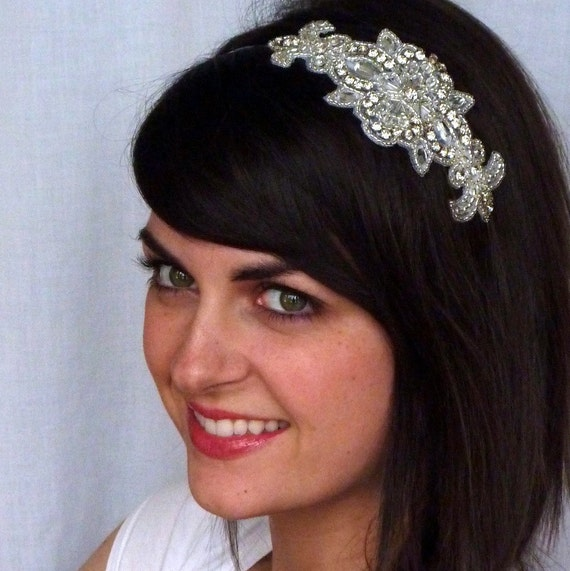 Silver Beaded Headband Rhinestone French Floral Crown for Women and Teens by Jill's Boutique