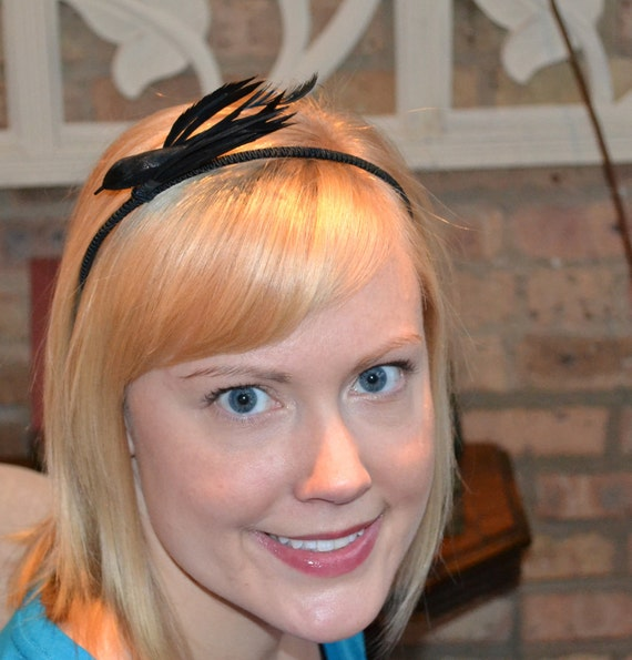 Black Feather Bird Headband with Soutache Wrap for Women and Teens Handmade Raven Crow Gothic by Jill's Boutique