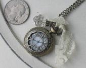 Flower antique bronze pocket watch necklace