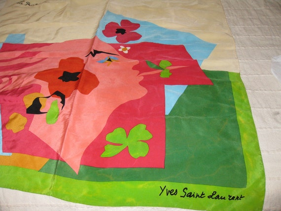 Reserved for VeraVintage Yves St Laurent scarf - Le Printemps - 100% Silk Scarf