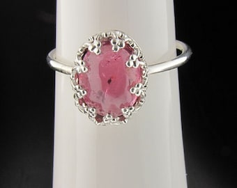 Untreated Rubellite Sterling Silver Ring - Custom Made, Romantic