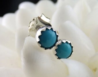 Barely There Turquoise Stud Earrings Sterling Silver 4mm