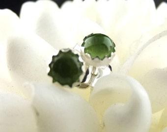Peridot Earrings, Peridot Studs, Green Stone Earrings, Green Jewel Earrings, Sterling Silver Earrings, August Birthstone Earrings