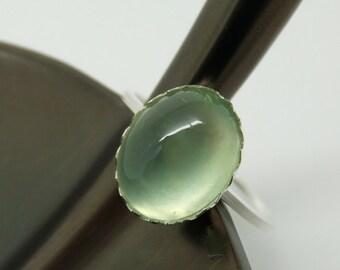 Prehnite Ring,  Sterling Silver Ring, Stacking Ring, Stacker Ring, Mint Green Ring, Handmade Ring, Personalized Ring, Custom Size Ring
