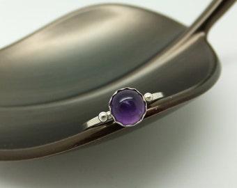 Amethyst Ring, February Birthstone Ring, Purple Stone Ring, Purple Jewel Ring, Purple Gemstone Ring, Sterling Silver Ring