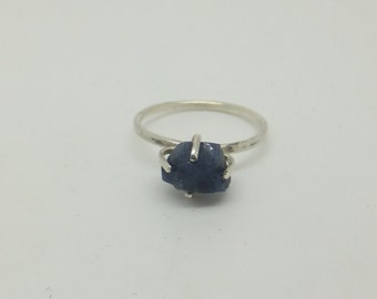Roughly There - Untreated Blue Sapphire Rough Sterling Silver Ring